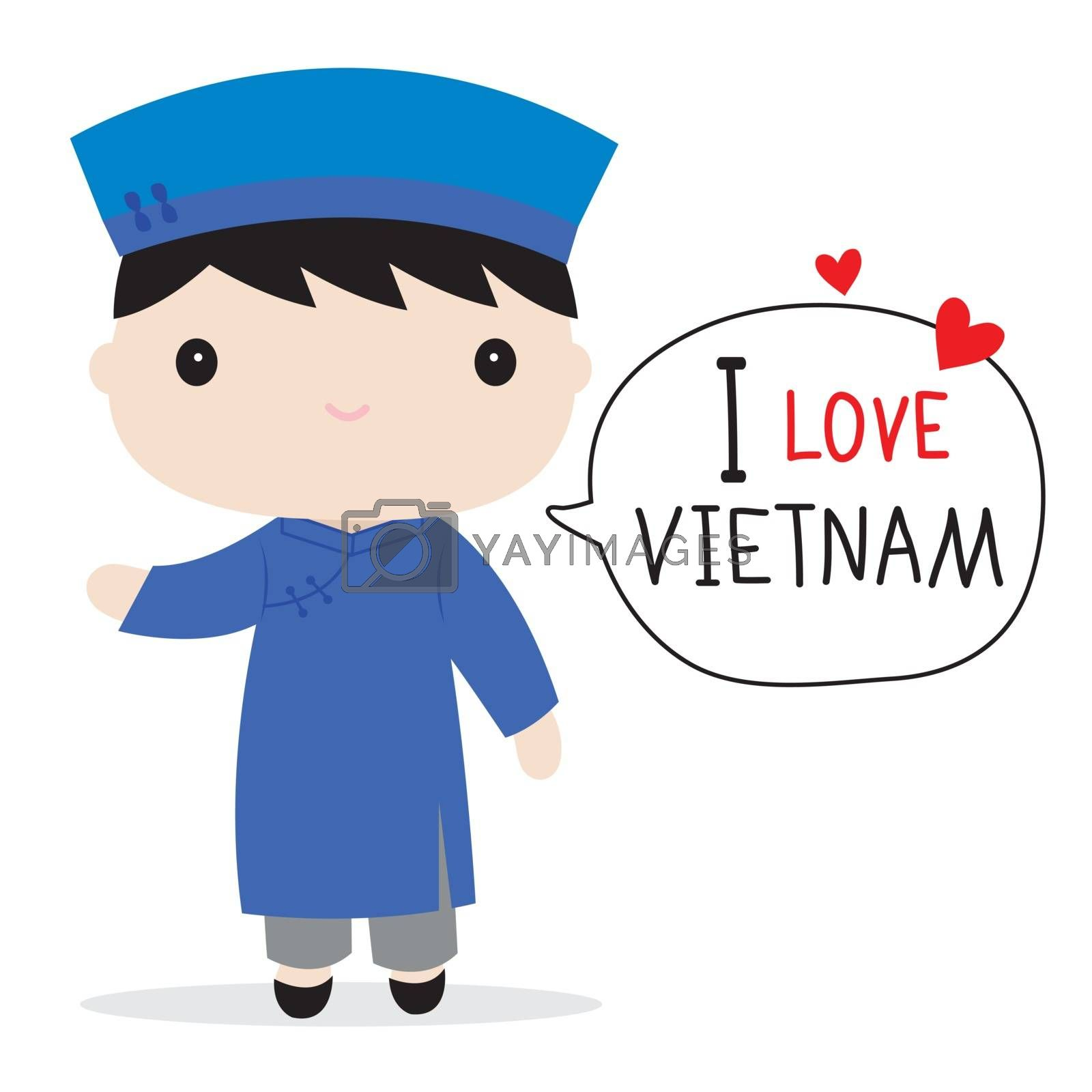 Vietnam People in national dress and traditional costume Cartoon Vector