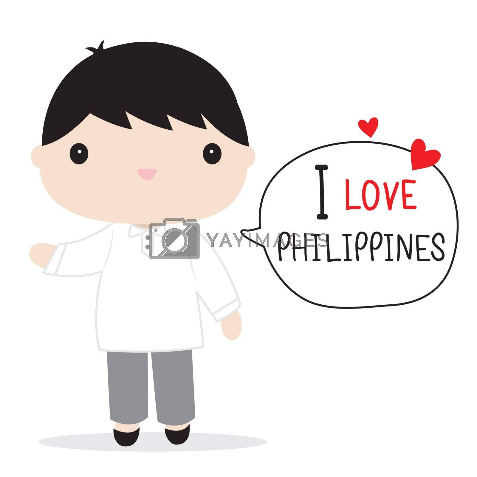 Philippines People in national dress and traditional costume Cartoon Vector