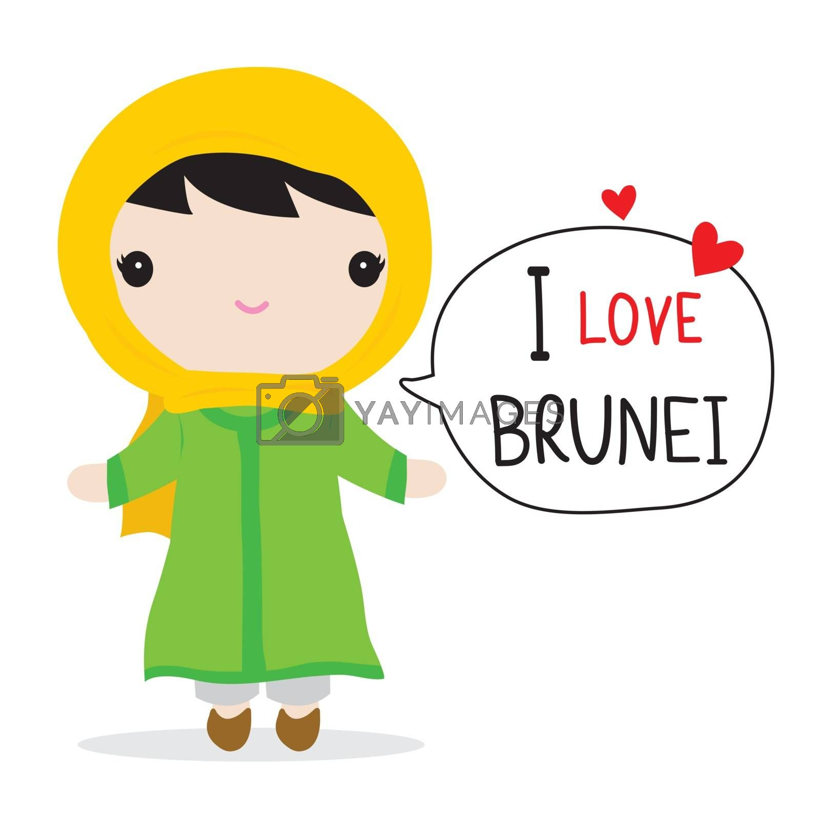 Brunei People in national dress and traditional costume Cartoon Vector