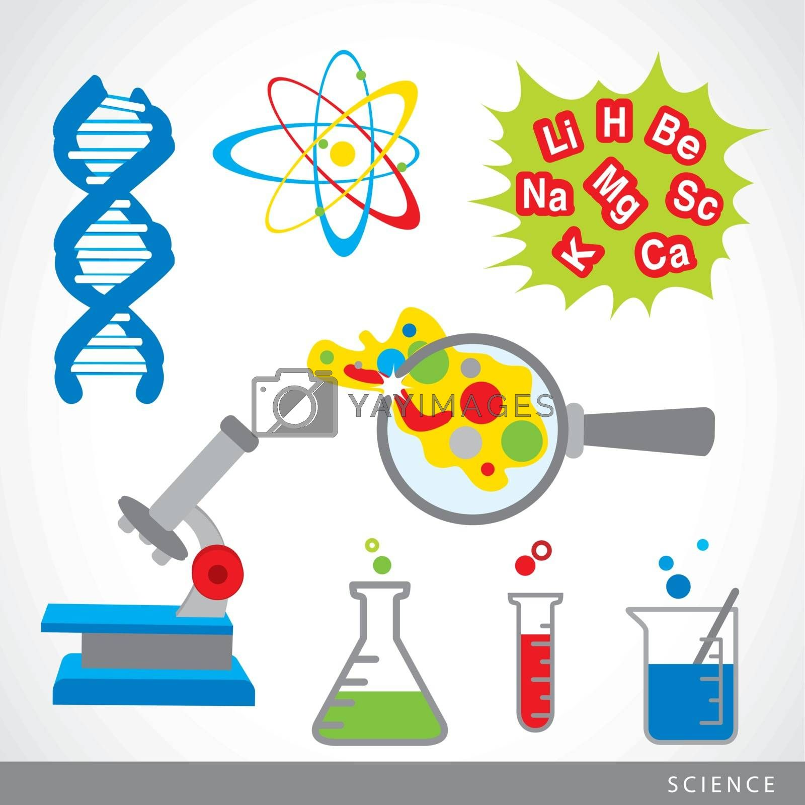 Chemical laboratory and Scientific equipment technology icon vector