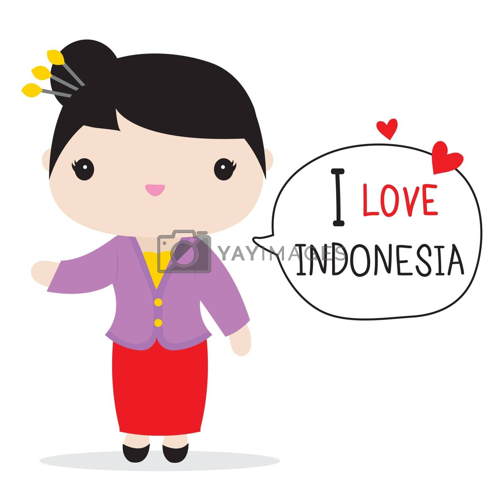 Indonesia People in national dress and traditional costume Cartoon Vector