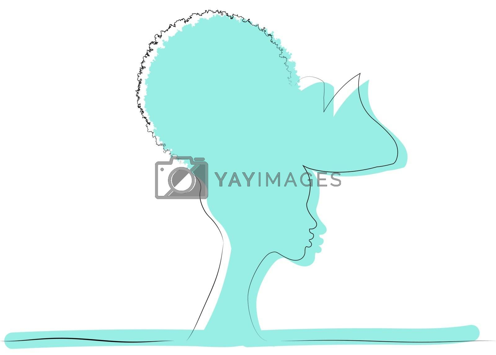 line art  drawing of African woman in turban and hair curly. Beauty woman silhouette logo icon. Modern artwork in minimal linear style, vector isolated on white background