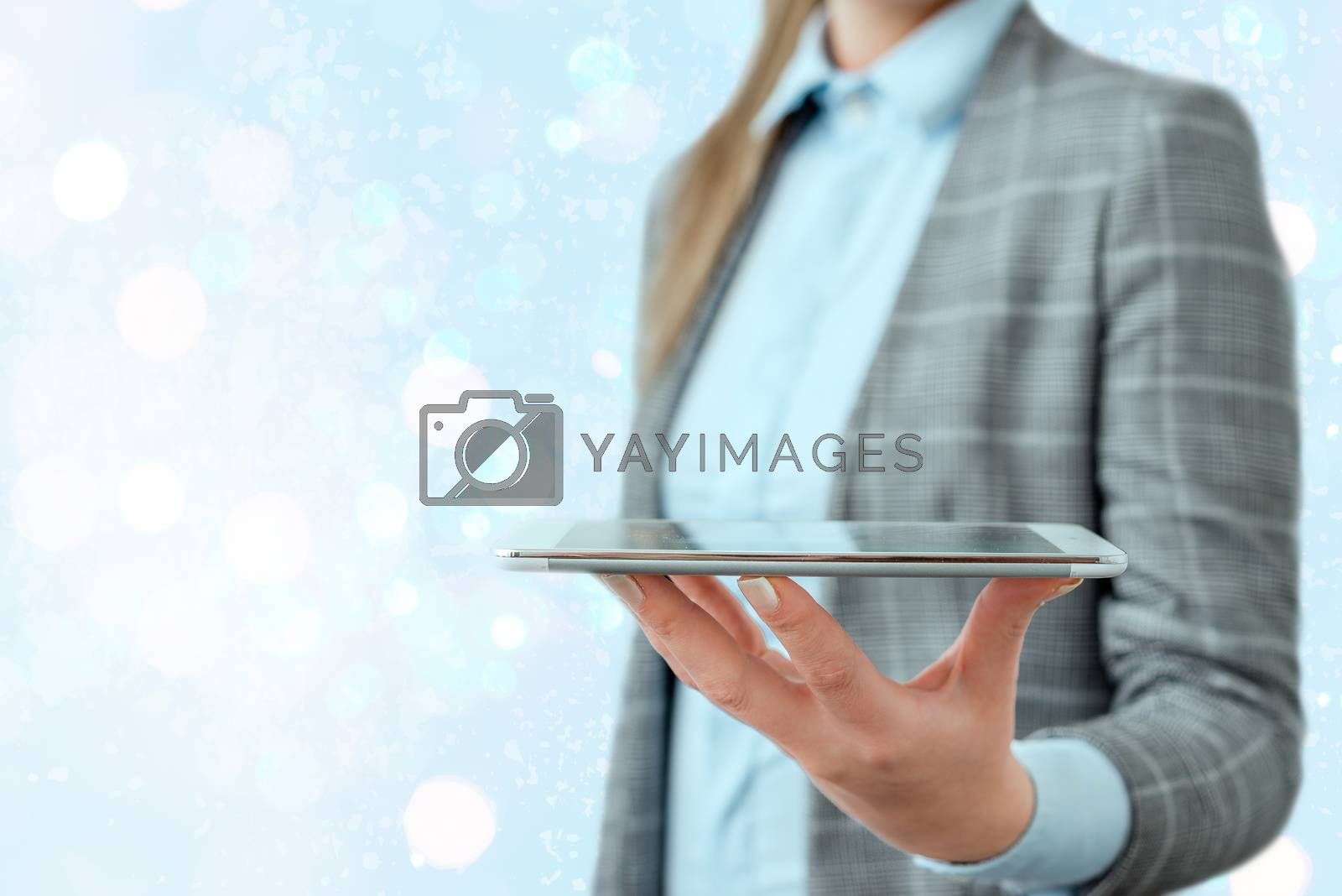 Touching Screen Digital Application Marking Important Details In Business.