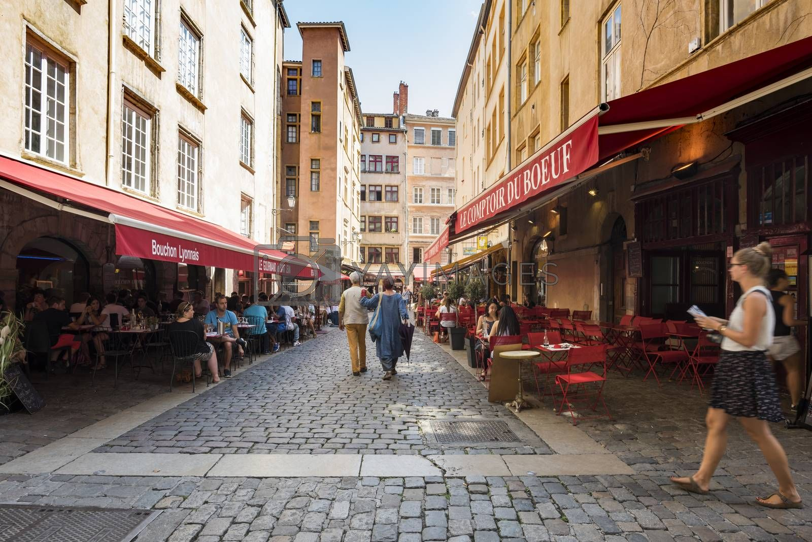 Street and Restaurants in Summer, Lyon, France