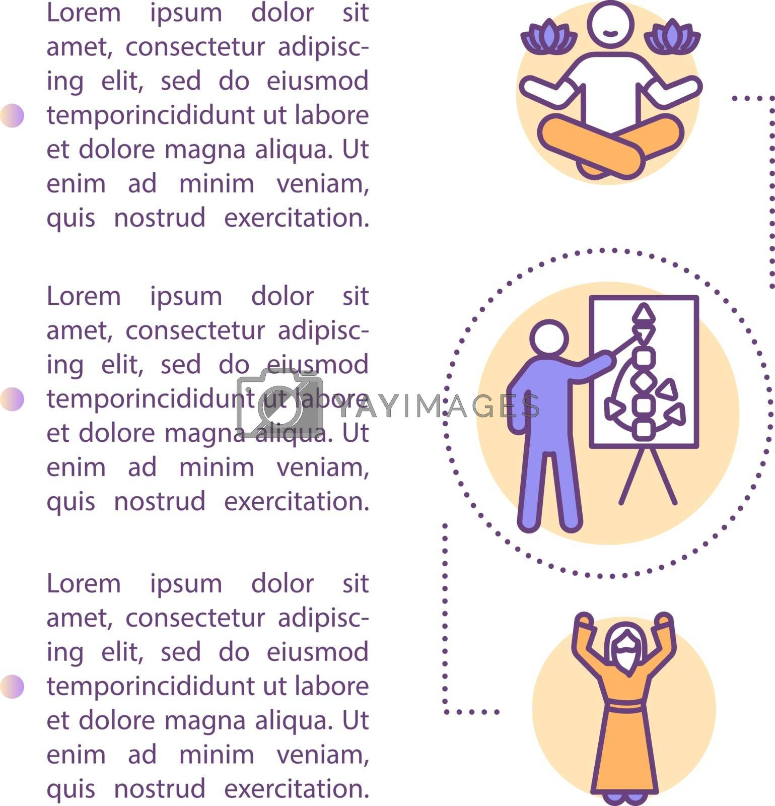 Self improvement concept icon with text. Eastern esoteric knowledge. Body graph. Meditation for balance. PPT page vector template. Brochure, magazine, booklet design element with linear illustrations