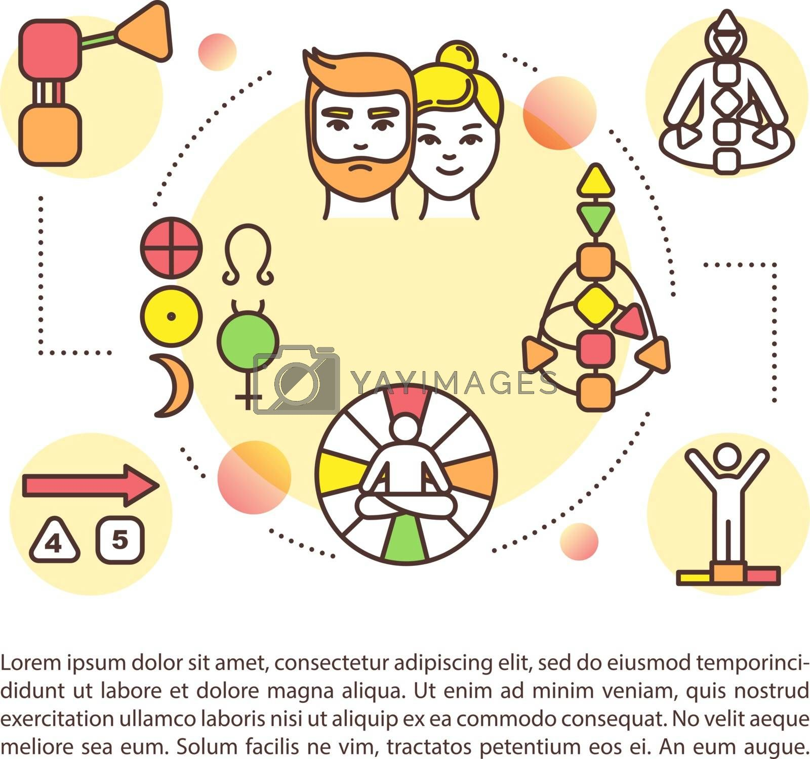Body chart concept icon with text. Mandal for self understanding. Spirituality and human design. PPT page vector template. Brochure, magazine, booklet design element with linear illustrations