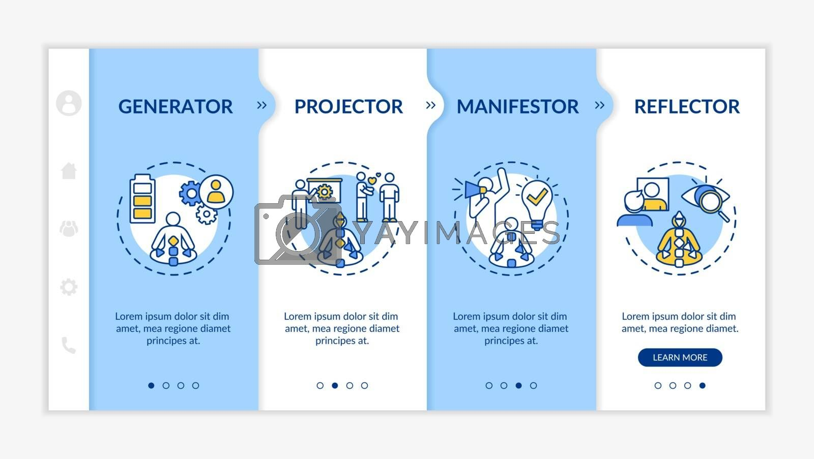 Human design classification onboarding vector template. Individuality types. Psychological knowledge. Responsive mobile website with icons. Webpage walkthrough step screens. RGB color concept