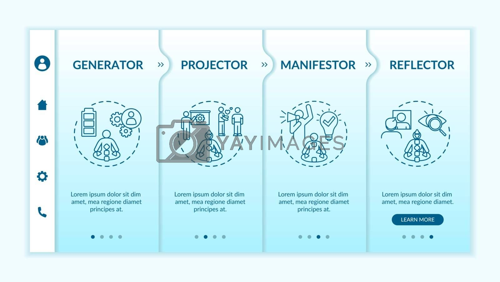 Human design types onboarding vector template. Unique personality traits. Pseudoscience knowledge. Responsive mobile website with icons. Webpage walkthrough step screens. RGB color concept