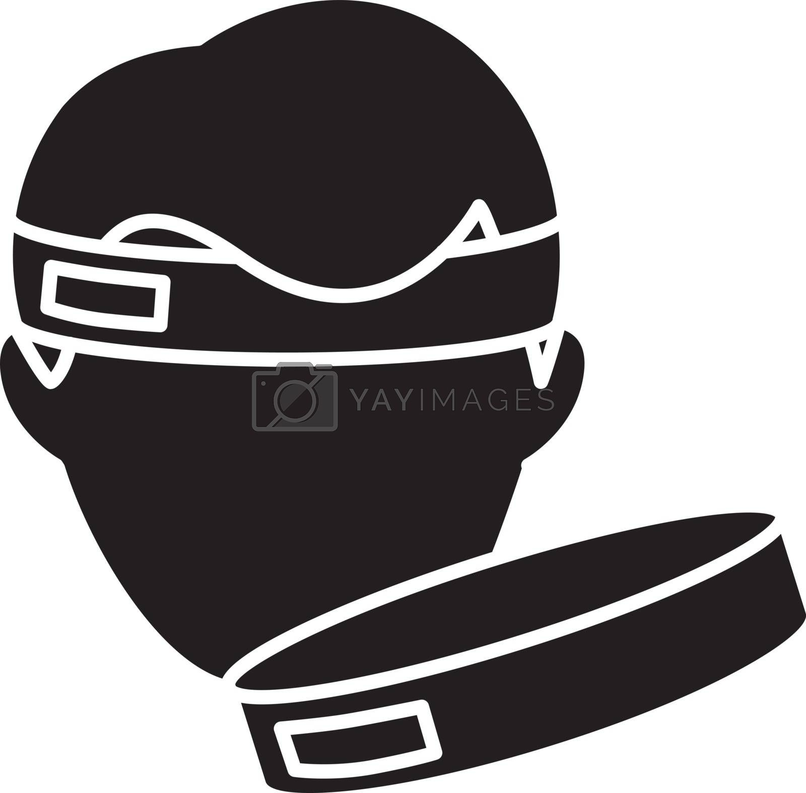 Workout headband black glyph icon. Sportswear for fitness training. Gym equipment silhouette symbol on white space. Sportive headwear for sweat protection. Sweatband vector isolated illustration
