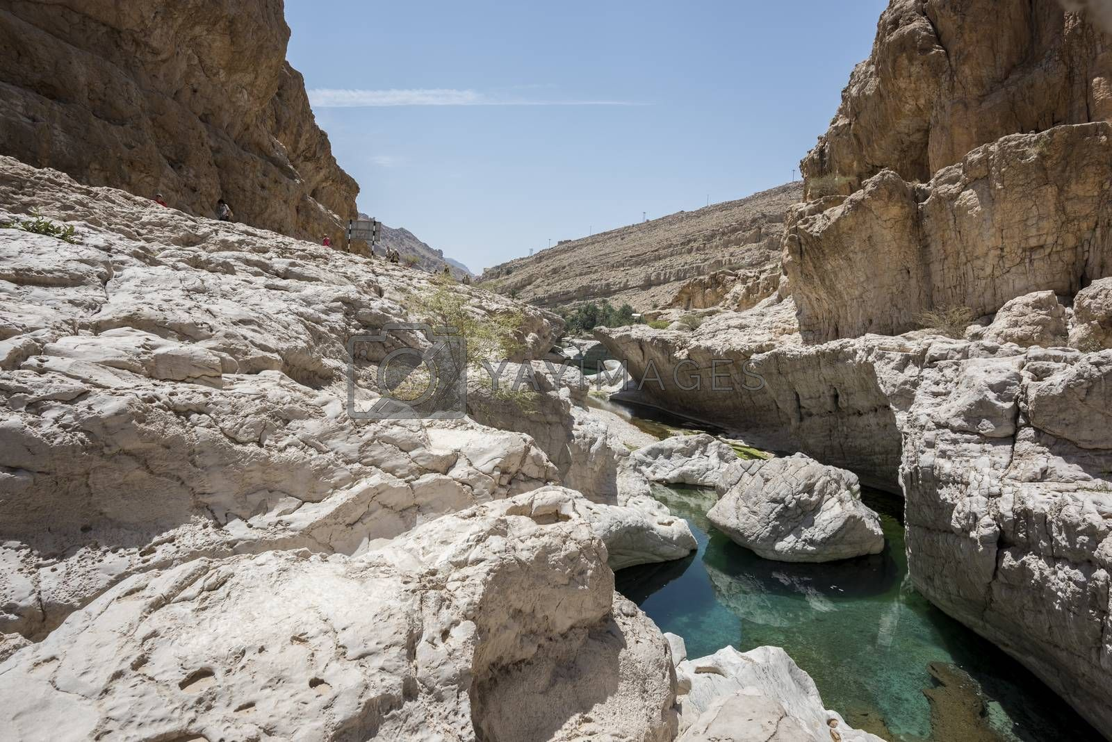 tourist beside the river (with turquoise water) and pool in the canyon of Wadi Bani Khalid, Sultanate of Oman