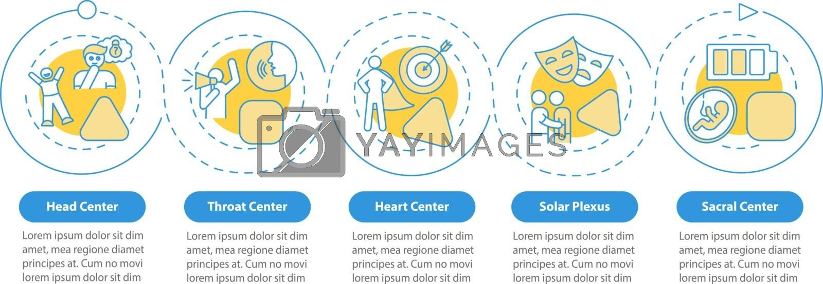 Energy centers vector infographic template. Human body channels presentation design elements. Data visualization with 5 steps. Process timeline chart. Workflow layout with linear icons