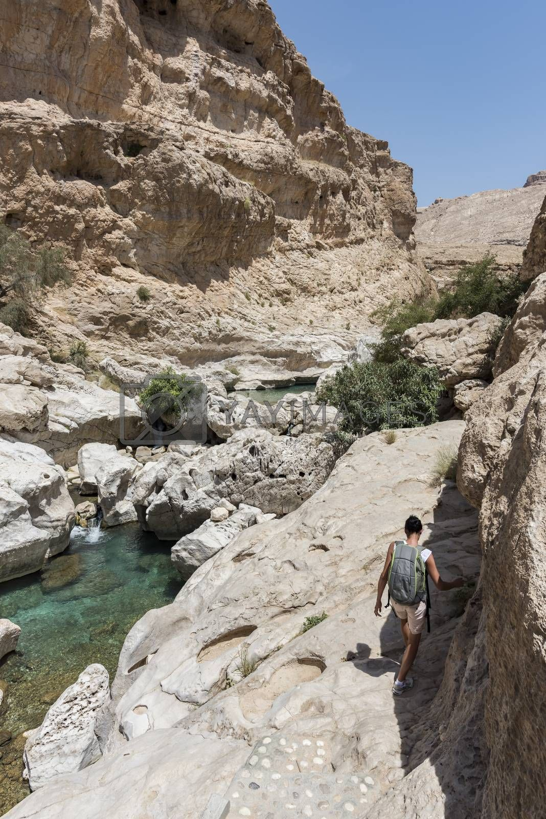 Woman in the 40s trekking near the river and pool in the canyon of Wadi Bani Khalid, in Oman, Middle East