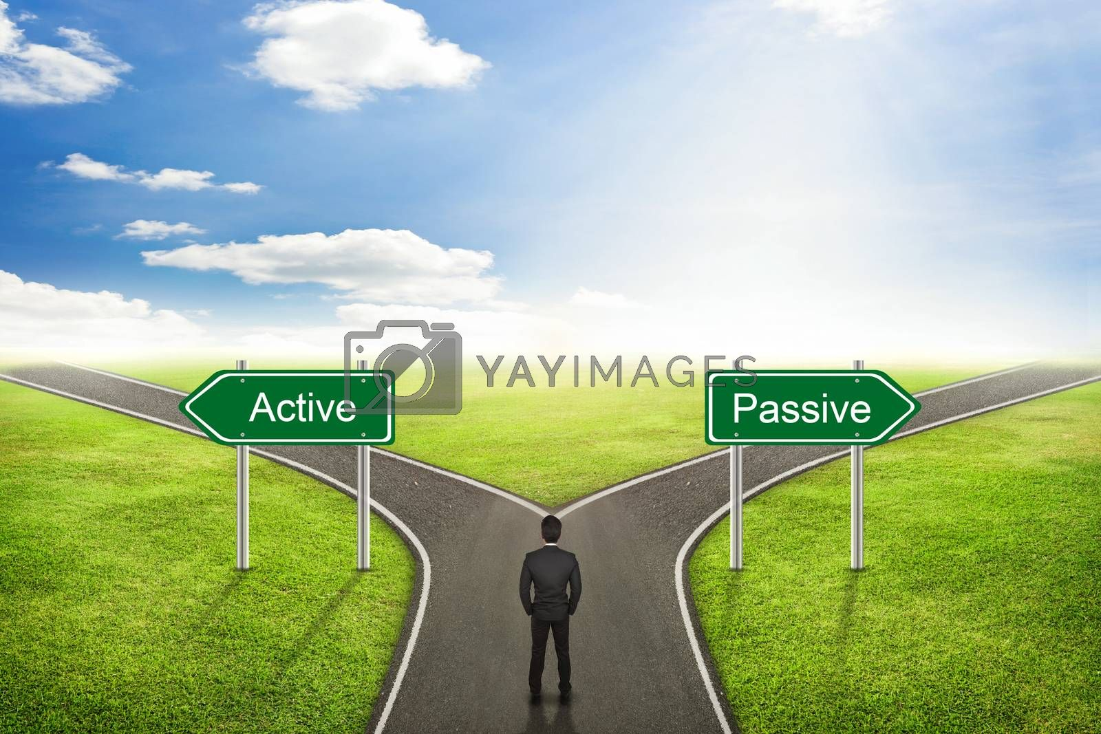 Businessman concept,  Active or Passive road to the correct way. by jayzynism