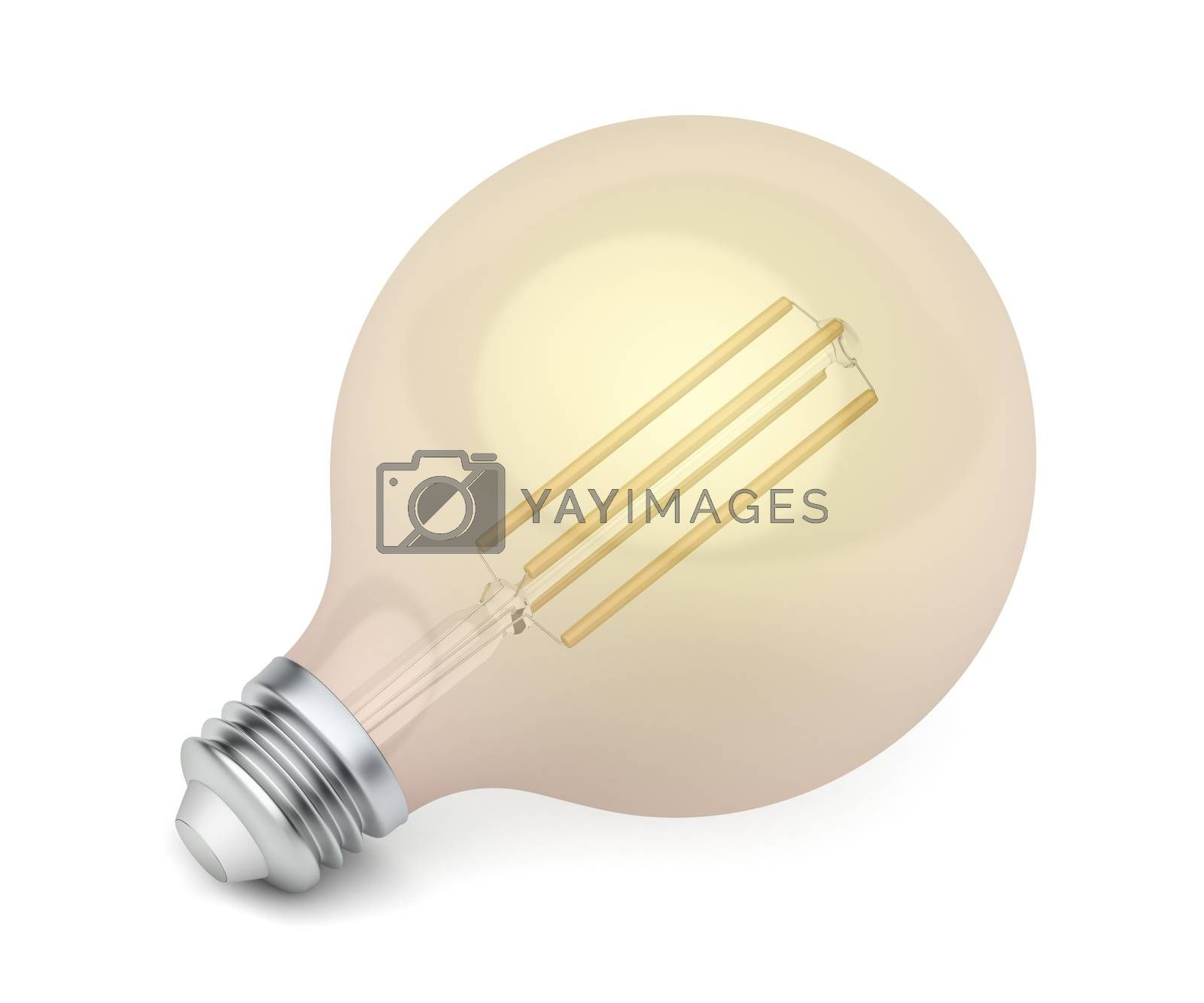 Decorative LED bulb with warm white color temperature on white background