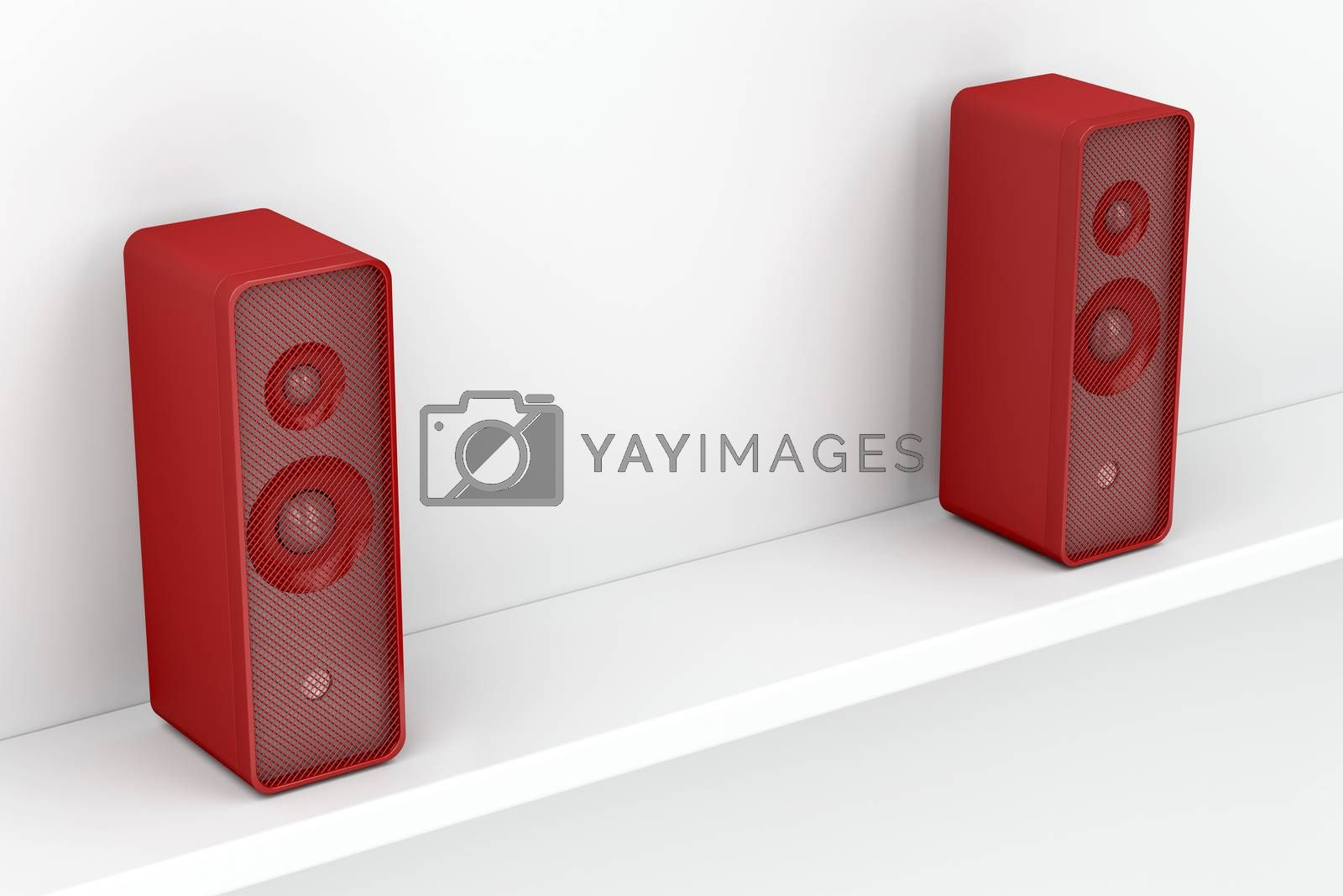 Red stereo speakers on white shelf