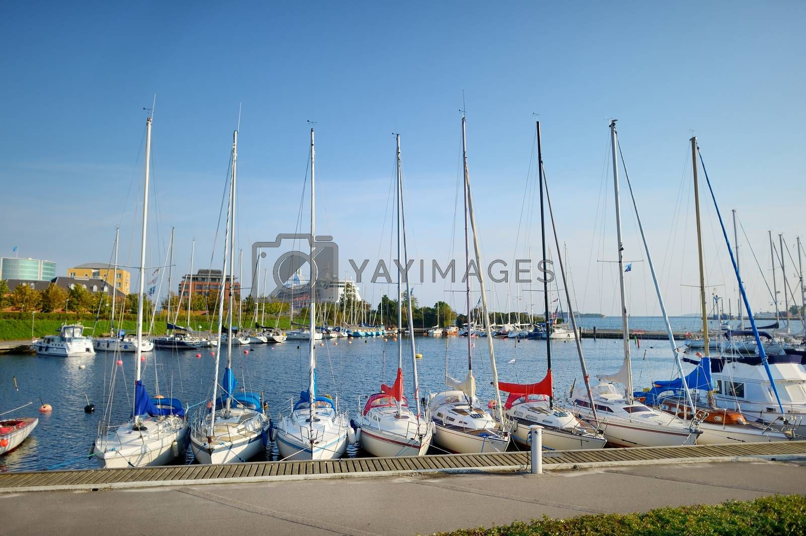 Yachts and boats in marina of Copenhagen