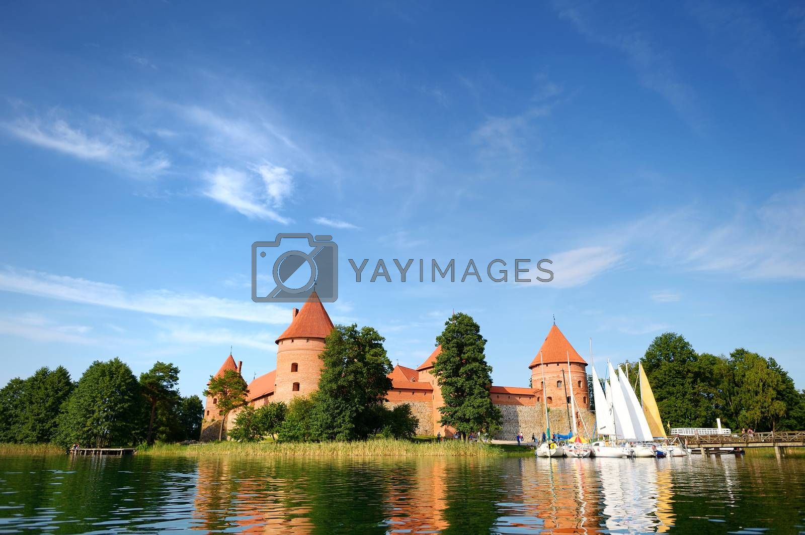 View on Trakai castle across lake, Lithuania