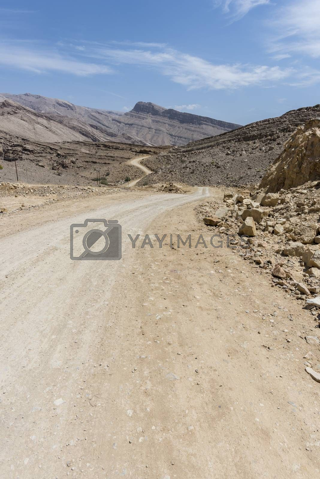 Unpaved road in rocky and wild mountains of the Sultanate of Oman.This path is close to Wadi Bani Khalid, a famous wadi where there penty of water and where we can enjoy swimming, contrasting with this arid and dry area.