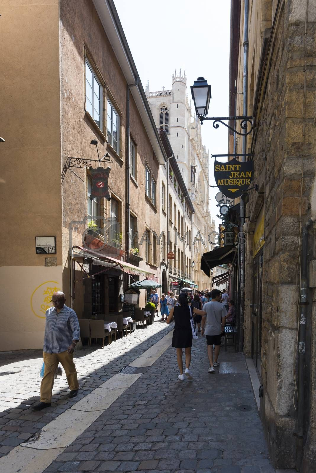 Street Saint Jean going to the Place and Cathedral Saint Jean in Summer, Lyon, France