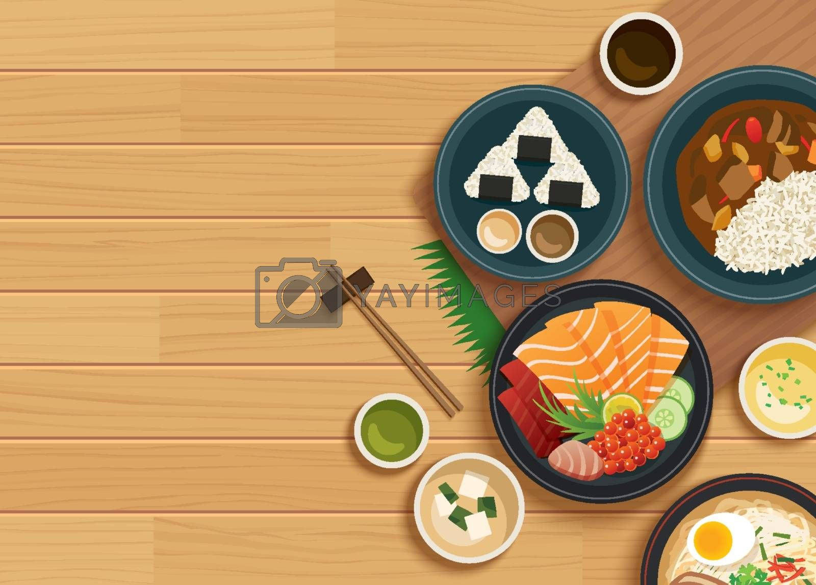 japanese food on top view wooden background. by kaisorn