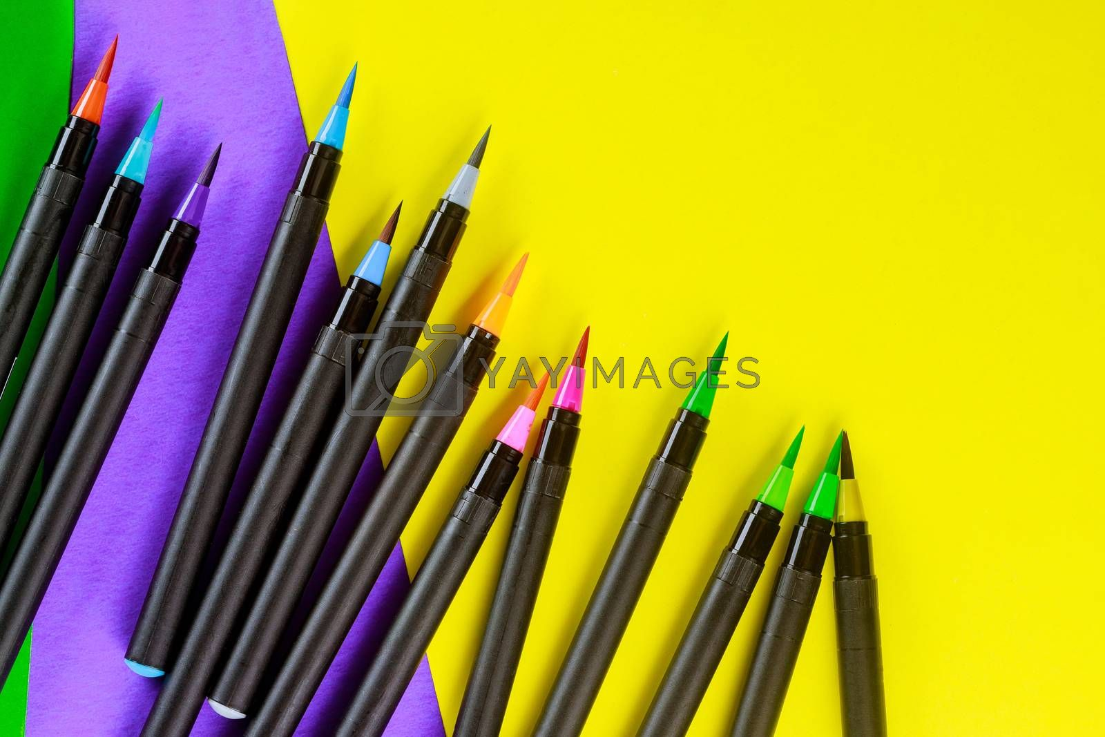 School supplies flexible watercolor brush pens for creativity