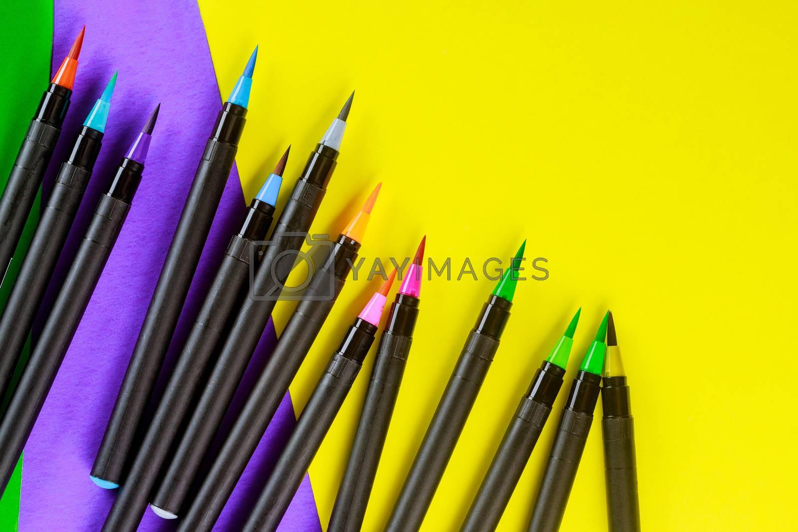 School supplies flexible watercolor brush pens for creativity