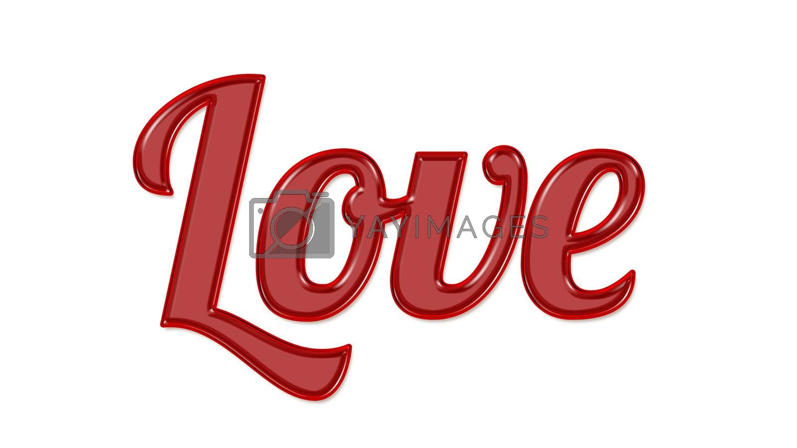 Glossy letter Love on a white background with attractive typographic fonts. Love background for post card.