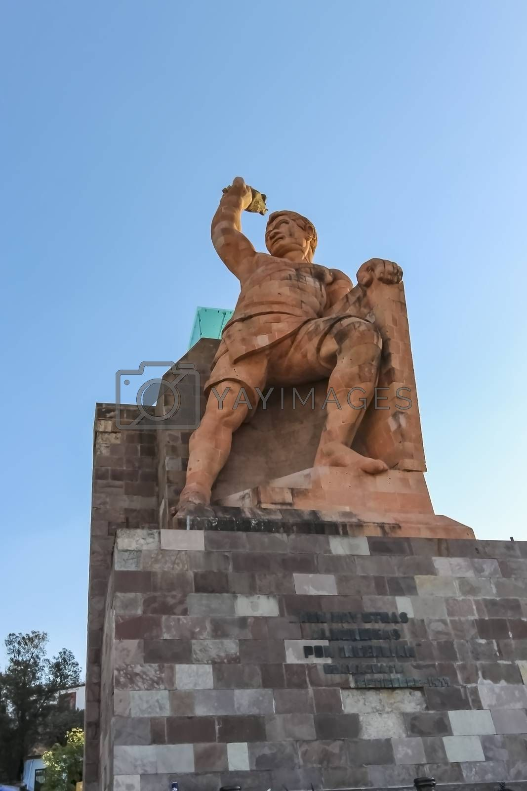 Monument El Pipila in Guanajuato, Mexico, a stone monument statue depicts a famous miner Juan Jose Martinez, a hero of the War of Independence