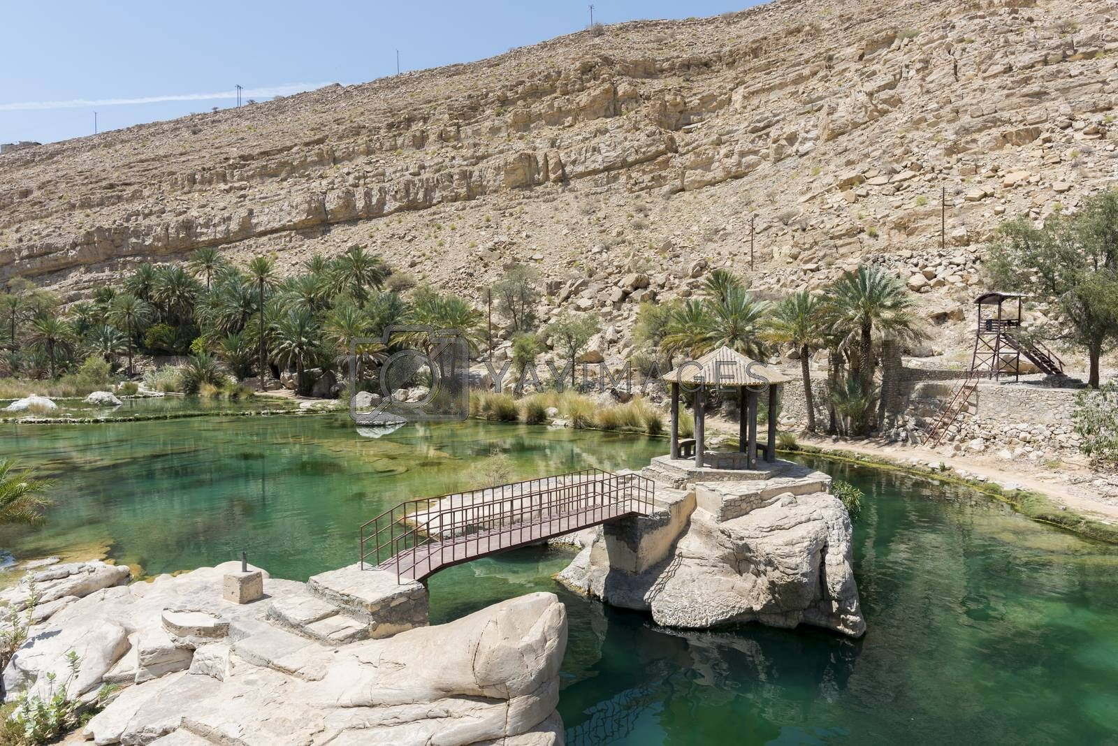 Rest area in one of the pool of Wadi Bani Khalid, Oman