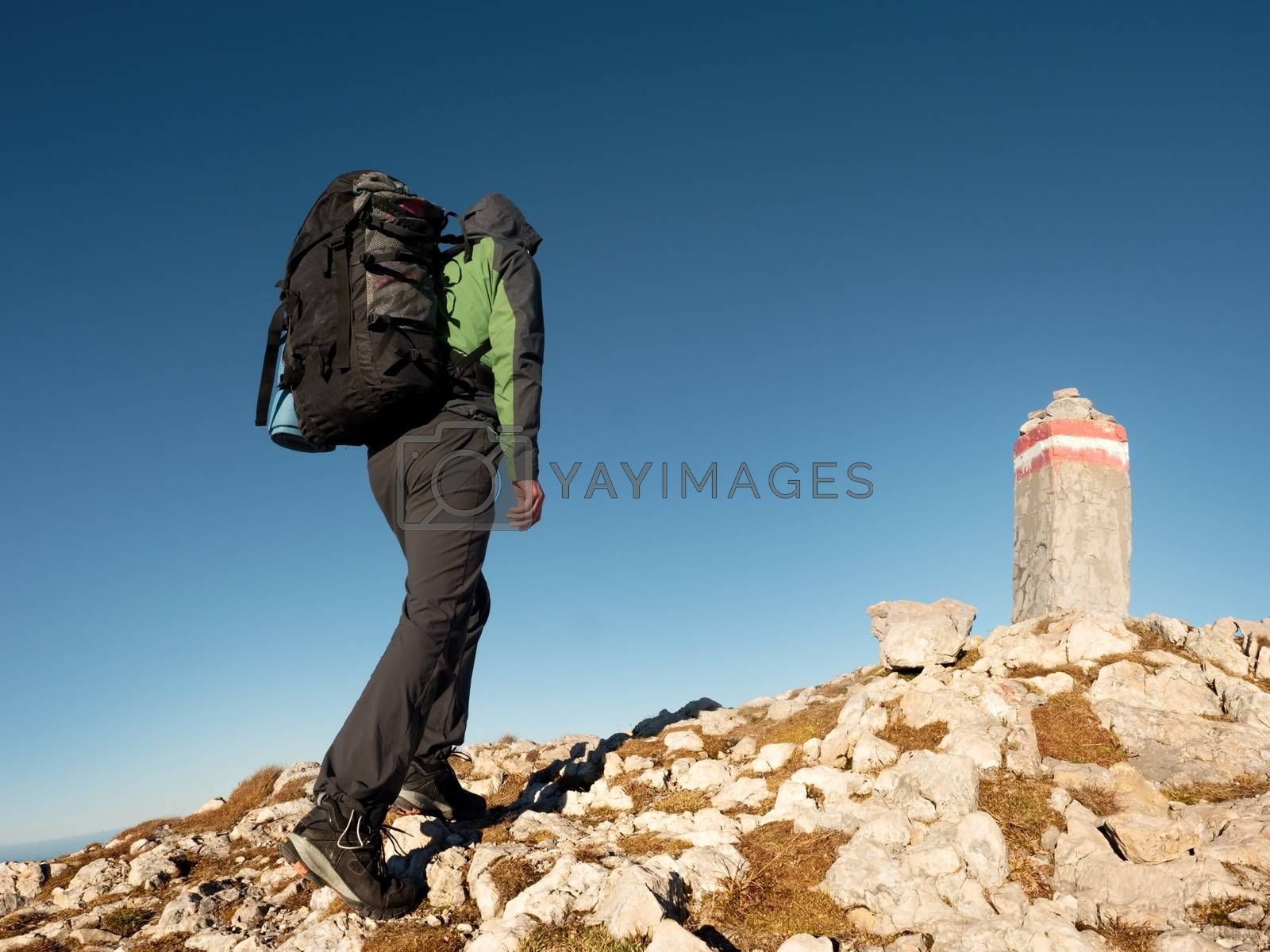 Adult tourist with backpack walk on mountain peak. Last step to summit stone on mountain top. Tourist walk with  heavy backpack