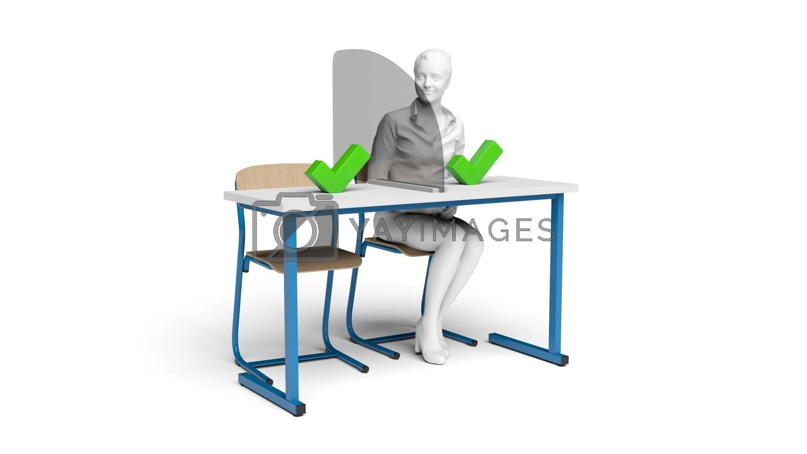 student desk with school chairs on white background 3D rendering