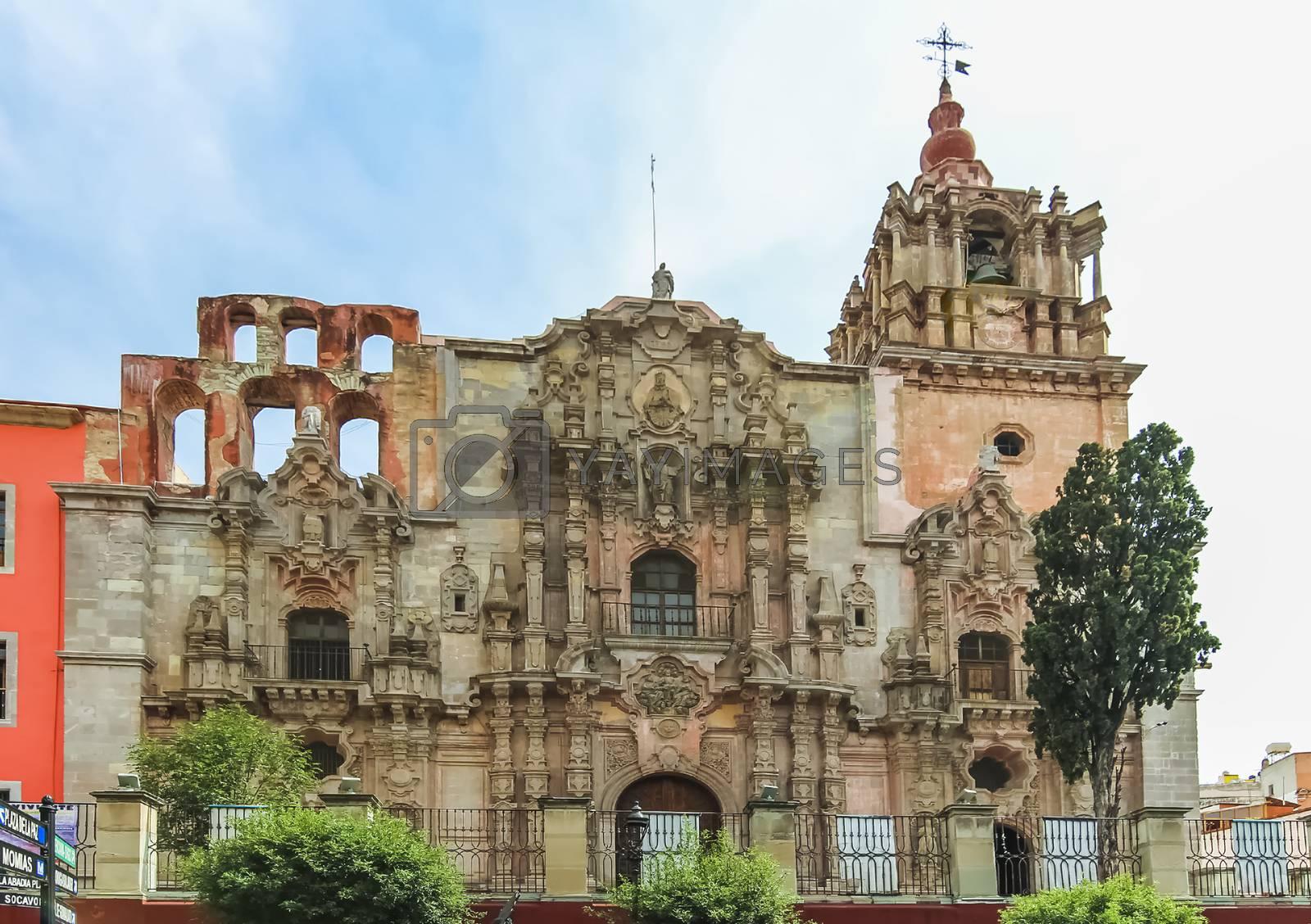 Facade of the Temple of the Company of Jesus commonly known as La Compania in Guanajuato City, Mexico