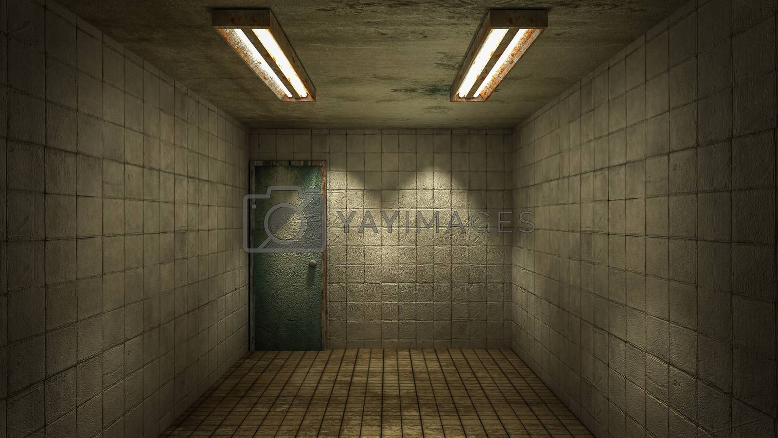 Royalty free image of The interior design of horror and creepy damage empty room., 3D rendering. by anotestocker