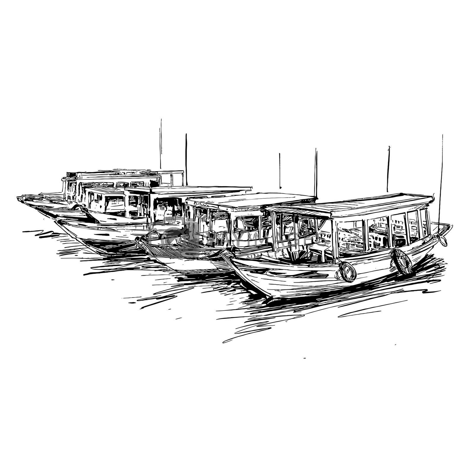 Drawing of the boat in Vietnam