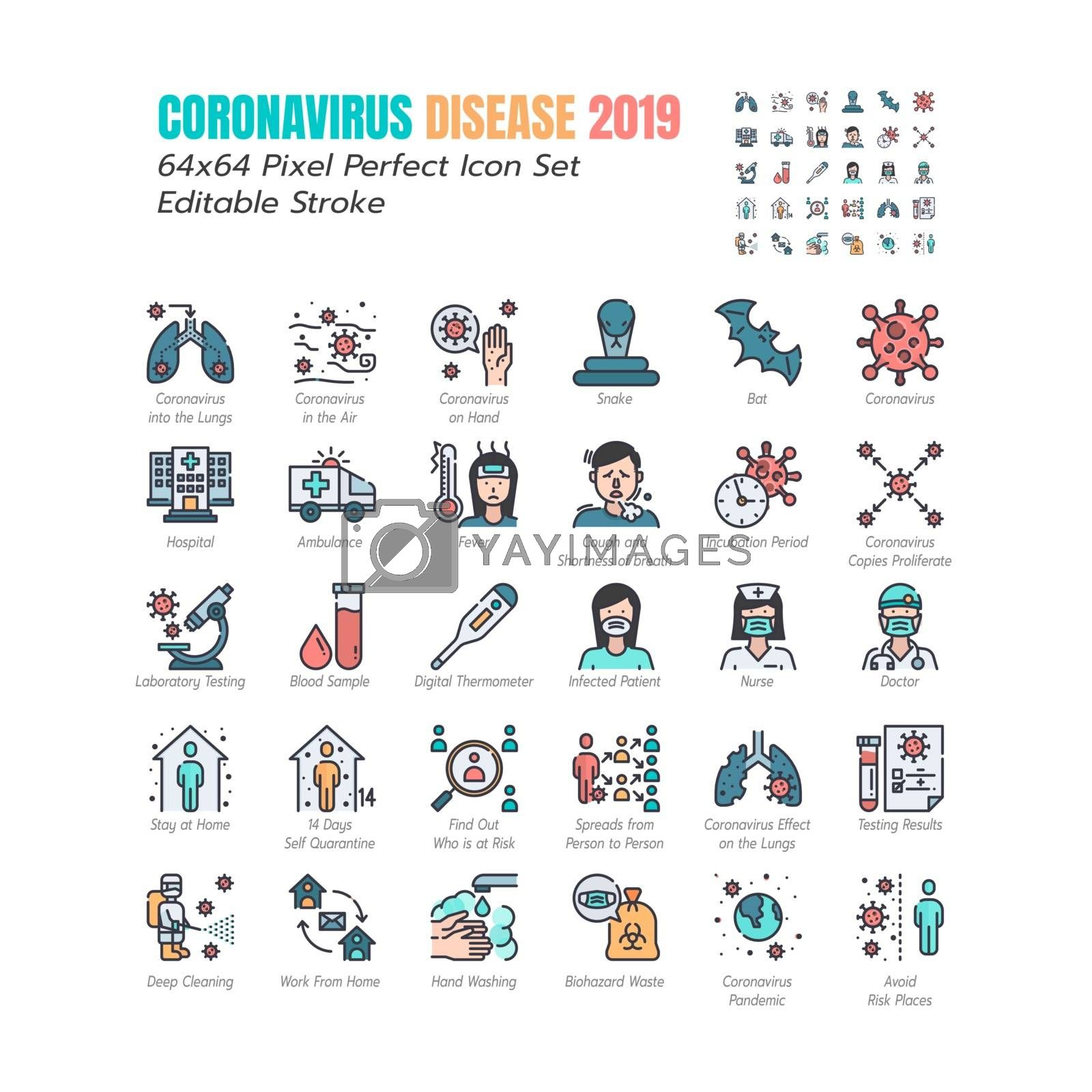 Simple Set of Coronavirus Disease 2019 Covid-19 Filled Outline Icons. such Icons as Symptoms, Infection,Testing, Social Distancing, Stay Home, Quarantine. 64x64 Pixel Perfect Editable Stroke. Vector