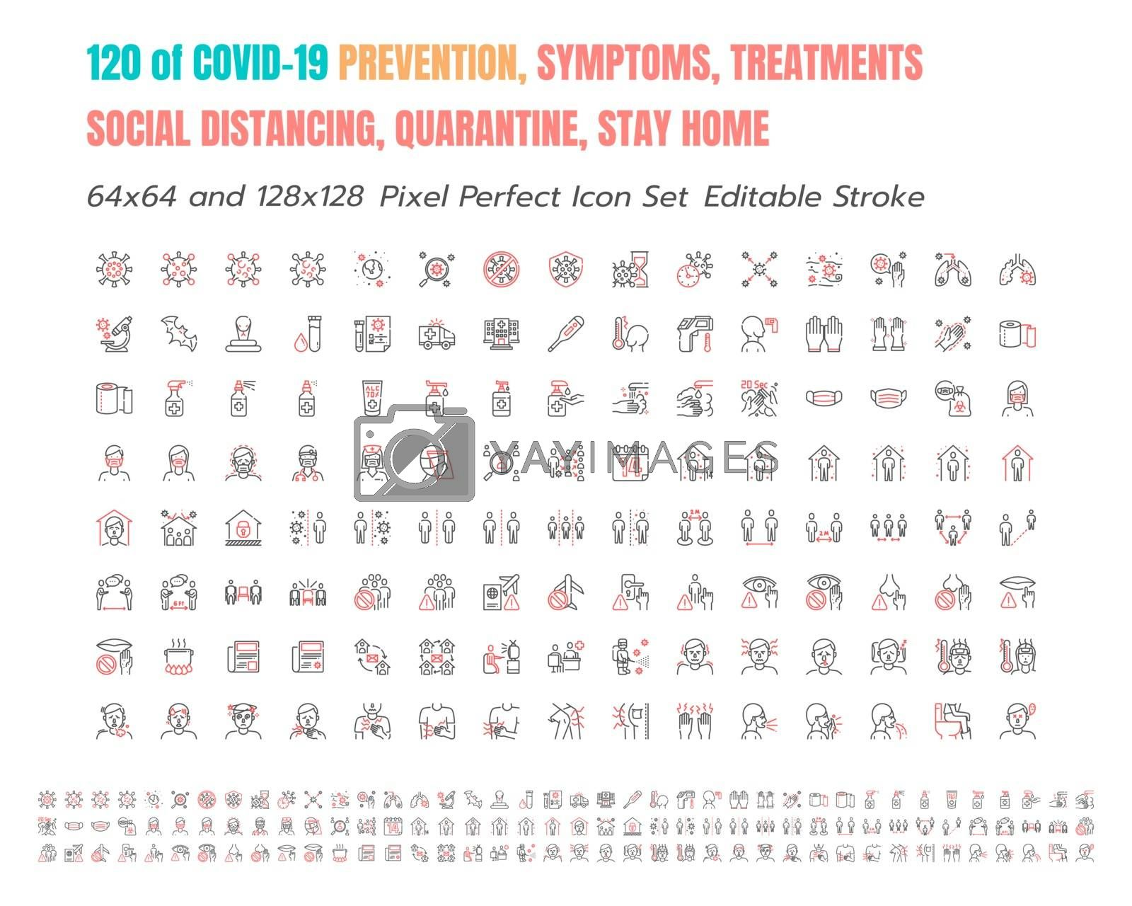 Simple Set of Covid-19 Prevention Bicolor Line Outline Icons. such Icons as Protective Measures, Coronavirus, Social Distancing, Symptoms, Stay at Home. 64x64 Pixel Perfect. Editable Stroke.