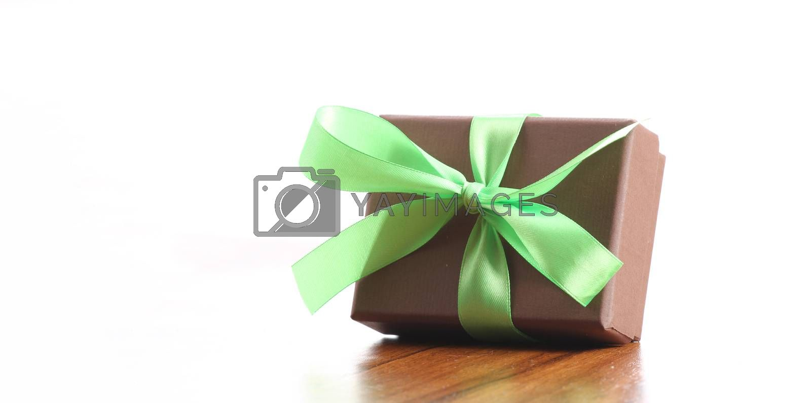 presents in a table with decoration and copy space and a ribbon
