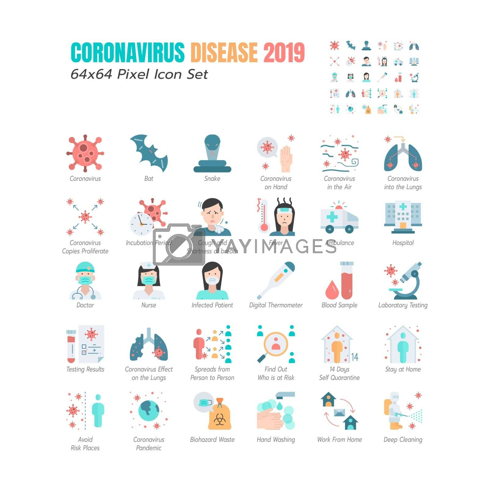 Simple Set of Coronavirus Disease 2019 Covid-19 Flat Icons. such Icons as Symptoms, Infection, Laboratory Testing, Social Distancing, Stay Home, Quarantine. Positive Test Result. 64x64 Pixel. Vector
