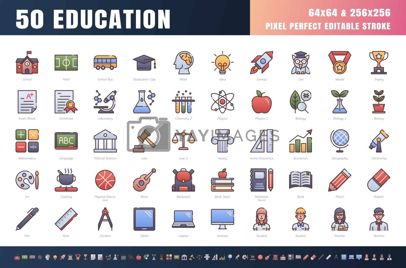 Vector of 50 Education and School Subject. Filled Gradient Color Line Outline Icon Set. 64x64 and 256x256 Pixel Perfect Editable Stroke. Vector.