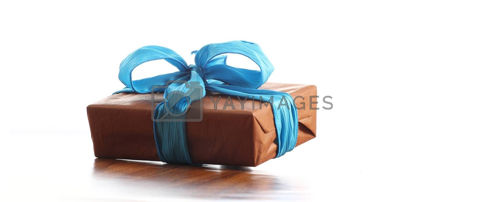 presents in a table with decoration and copy space