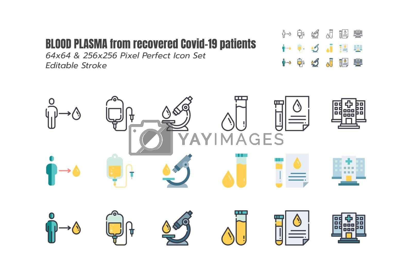 Blood Plasma is being Sought from Recovered Covid-19 Patients. Research to the Coronavirus Disease 2019 Infection Treatments. Line outline, Flat, Filled Icons 64x64 Pixel Perfect Editable Stroke.