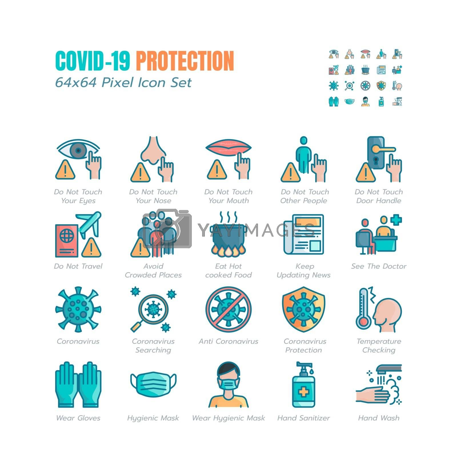Simple Set of Covid-19 Protection Filled Icons. Icons as Guidance Protective Measures, Coronavirus Prevention, Hygienic Healthcare, Solution, Awareness, Hands Wash, Wear Face Mask etc. 64x64 Pixel