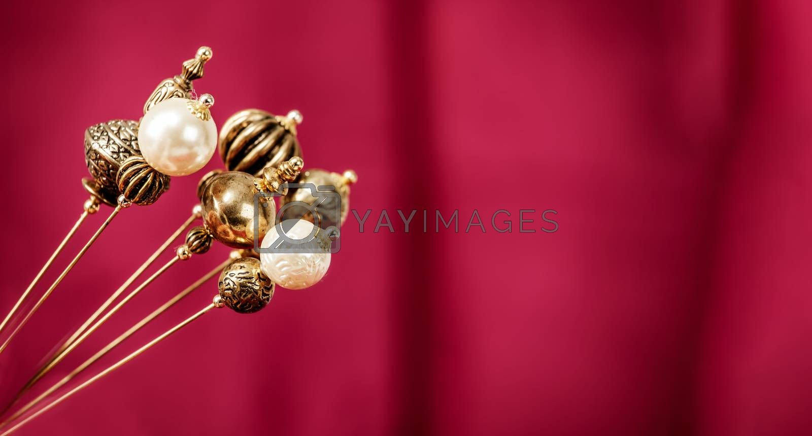 Christmas Background with golden ornament balls with copy space