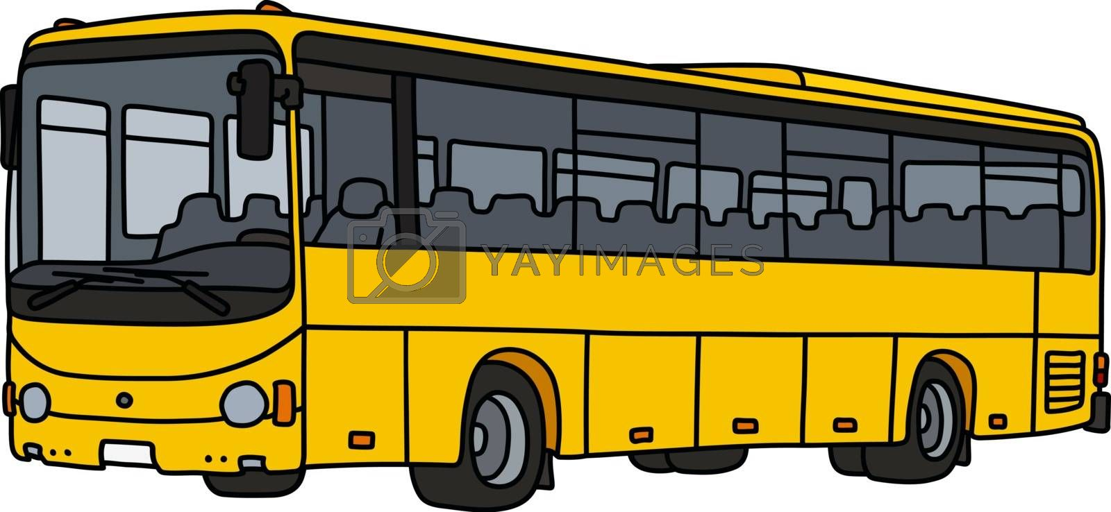 The vectorized hand drawing of a yellow touristic bus