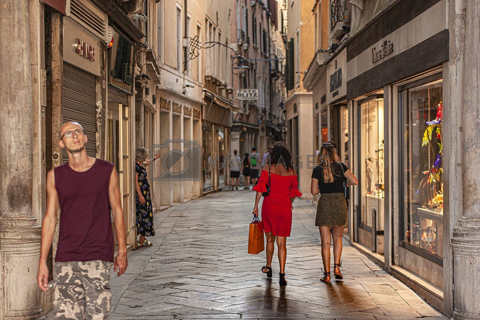 VENICE, ITALY 2 JULY 2020: People in Venice alley
