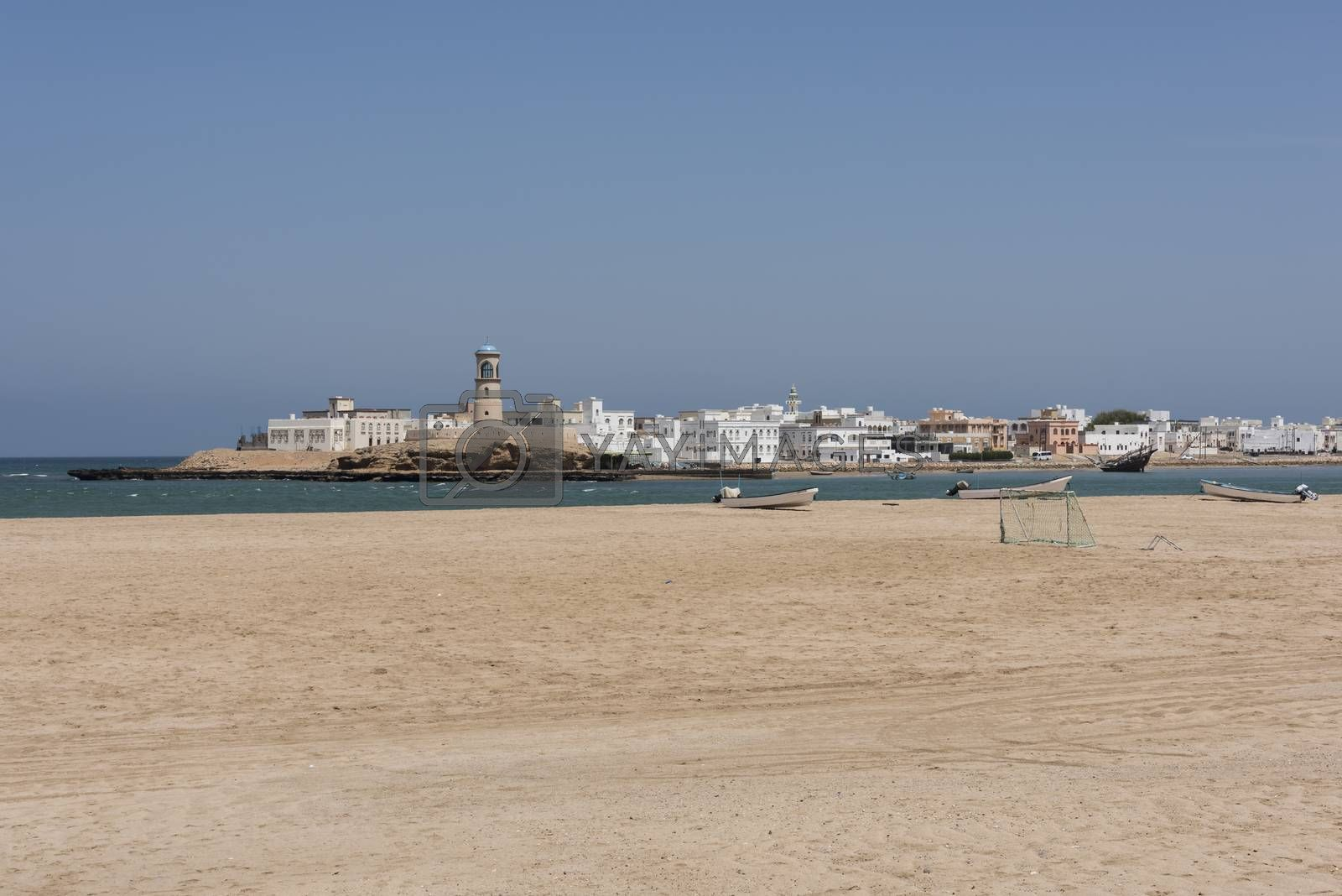 Al Ayjah lighthouse was built by the Portiguese to guide the boats and dhows to safe harbor to the lagoon, It  had been renovated, Sur, Oman