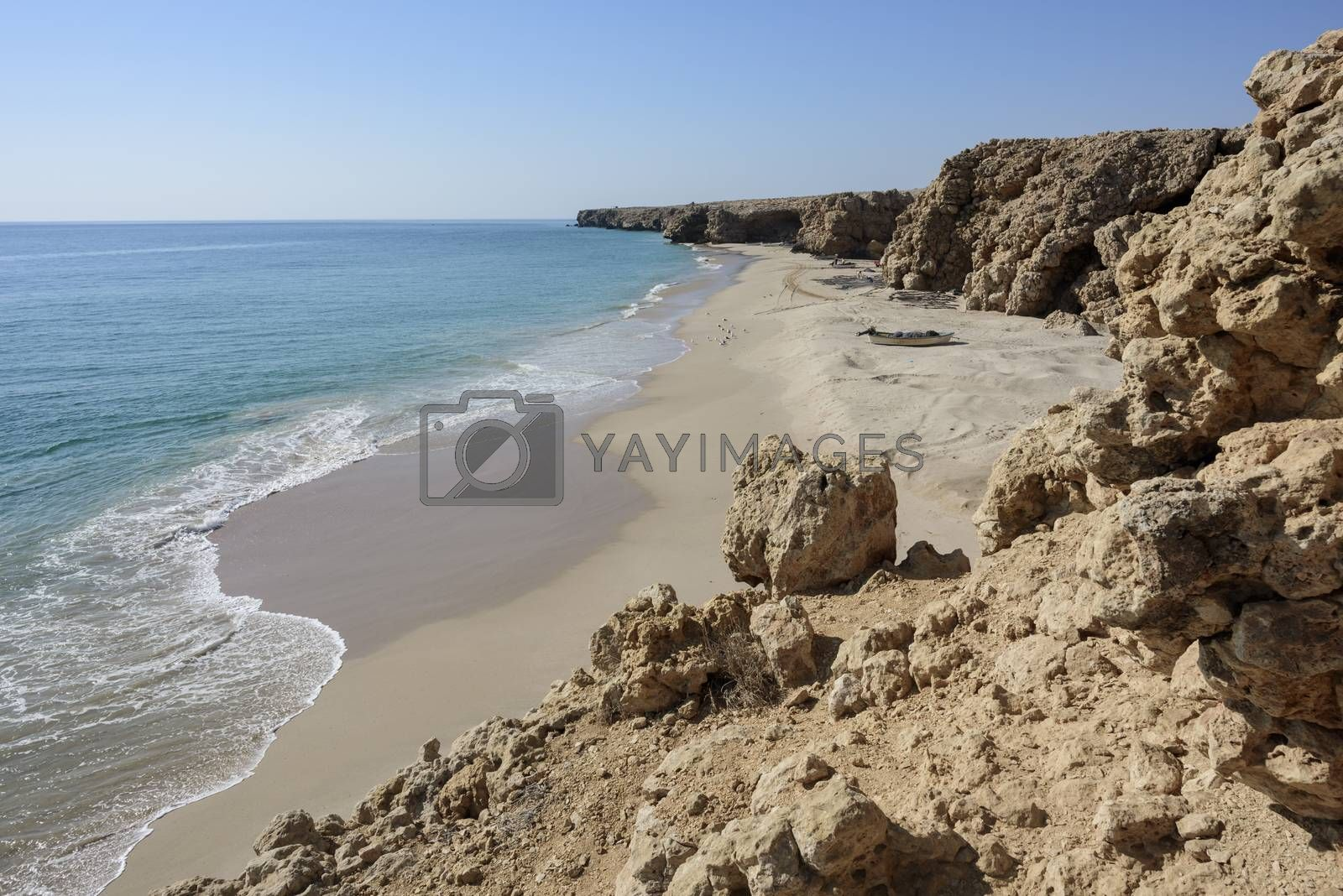 Wild beach at the coat of Ras Al Jinz, Sultanate of Oman.Fishermen of the nearest village use it as a fish harbor