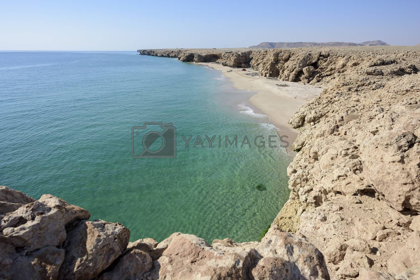 Wild beach at the coat of Ras Al Jinz, Sultanate of Oman. Fishermen of the nearest village use it as a fish harbor