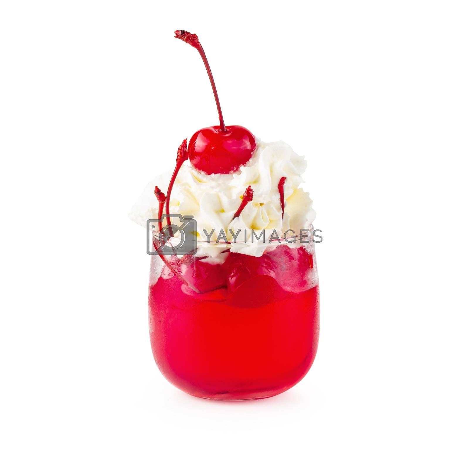 Strawberry jelly in a glass topping with cherries and whipped cream isolated on white background.