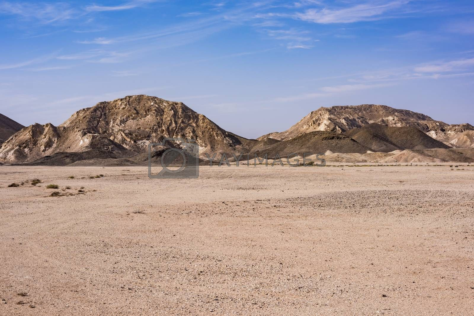 Panorama with the desert and mountains in Ras Al Jinz, Oman